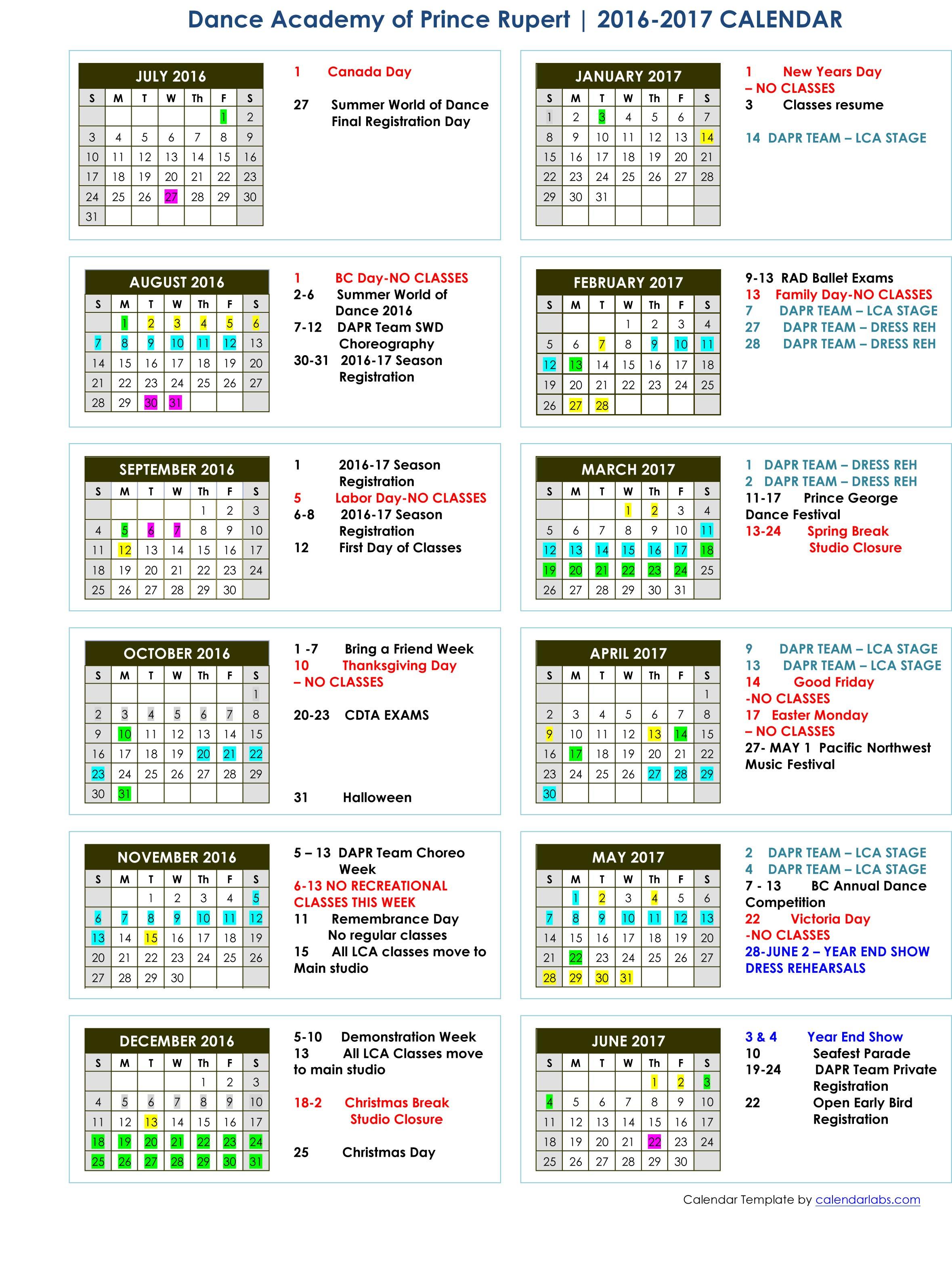 DAPR 2016-2017 Calendar
