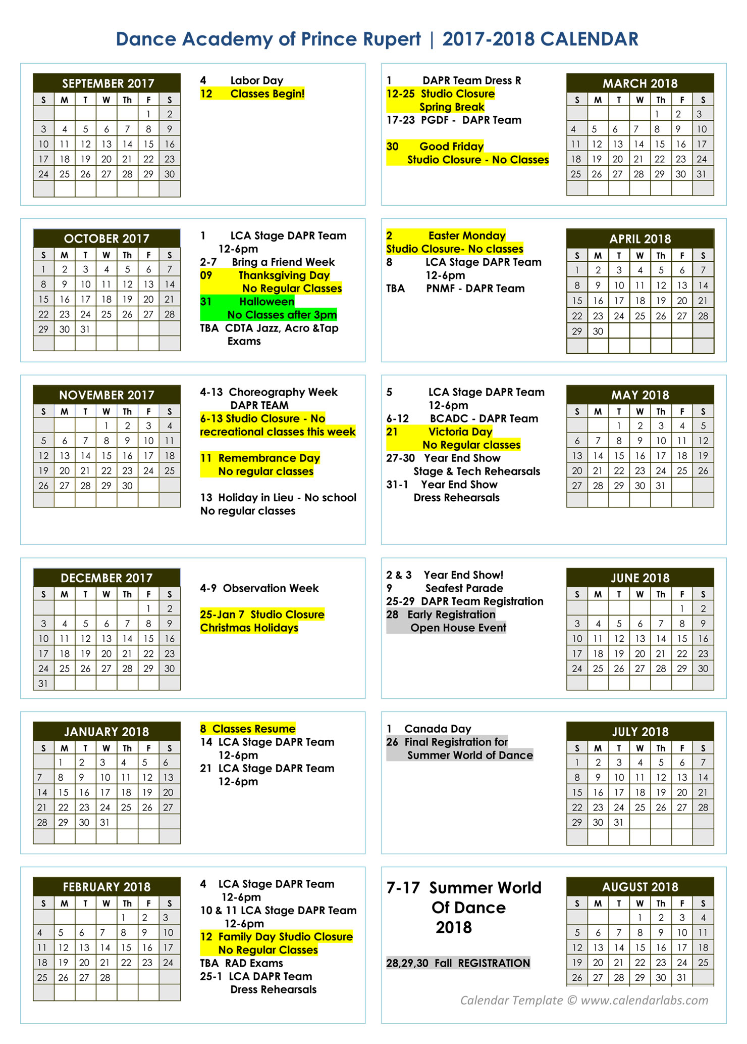 annual calendar of events template